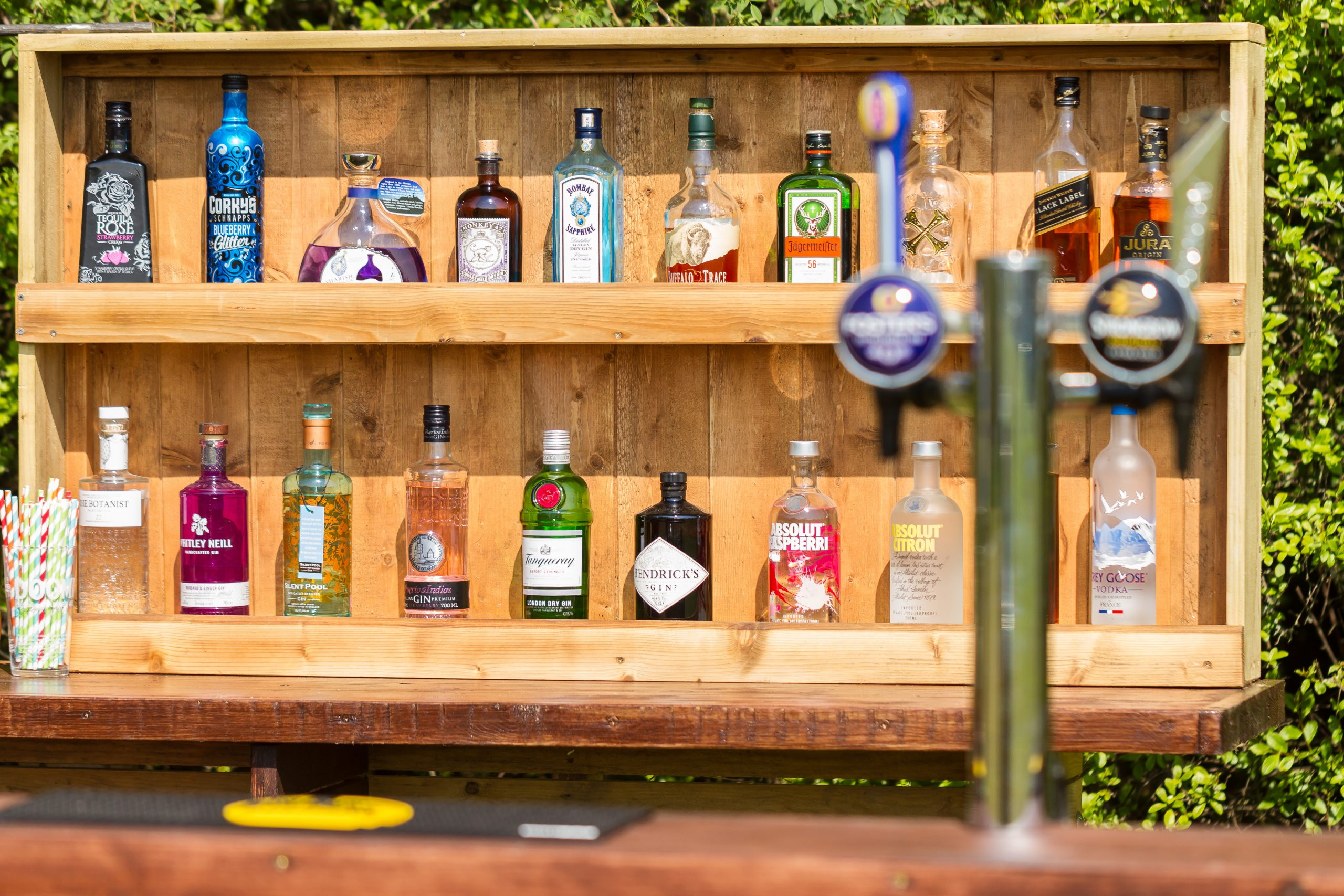 Wooden back bar hire