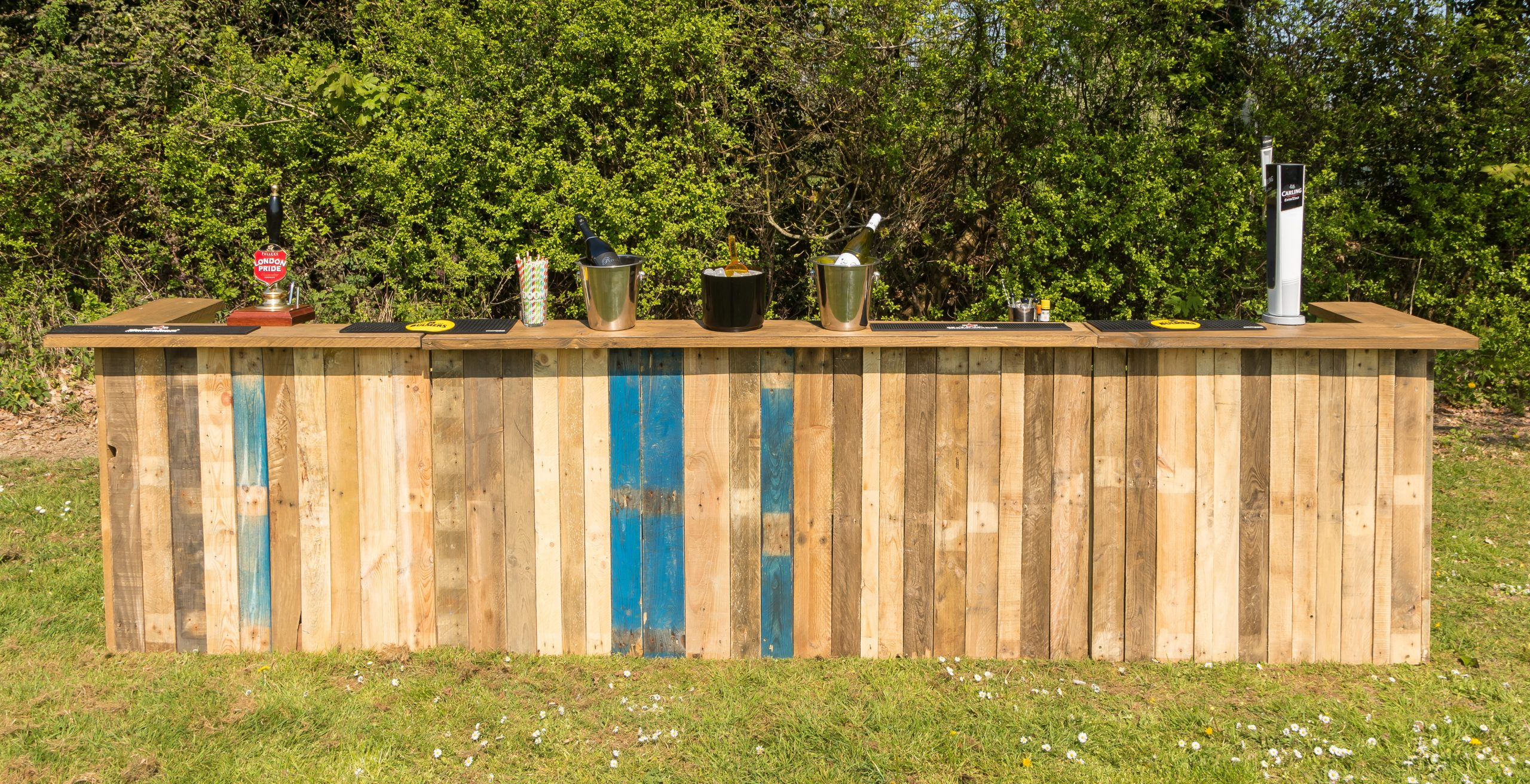 Upcycled pallet bars for hire